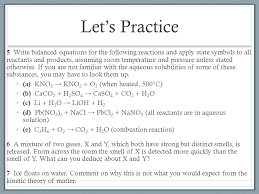 28 let s practice 5 write balanced equations for