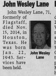 Obituary for John Wesley Lane (Aged 71) - Newspapers.com