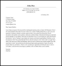 Professional Kindergarten Teacher Cover Letter Sample Writing