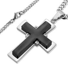 crucible men s black onyx and stainless steel cross pendant necklace 24
