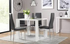 eden square white high gloss dining table with 4 leon grey chairs with square white dining table