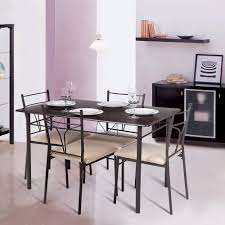 ikayaa 5pcs table and chairs set 4 person metal kitchen dinning table walmart