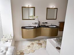 white interior color with unique round shaped extra large bath rugs for luxury modern bathroom ideas