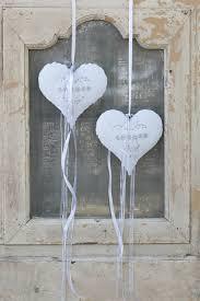 Fensterdeko Nr54 Metallherz Weiß Mit Straßsteine Drahtwicklung Shabby Vintage
