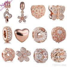 2019 207 new rose gold color flower charms beads fit original pandora bracelets 925 sterling silver jewelry cz pendant bead diy accessories from juliajy