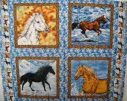 Horses at Sunset Quilt ePattern, 5000-5, horse quilt pattern ... & Horse Quilt Fabric Panel 43x35 Natures Corner #8692 Free Shipping USA Adamdwight.com