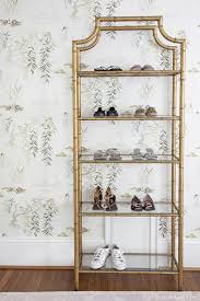Vintage gold bamboo etagere, shoe shelf, swan lake wallpaper room by ...