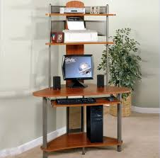 furniture narrow small computer desk with multiple shelves and a slide out keyboard tray