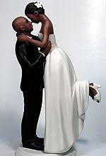 African American Bride And Bald Groom Wedding Cake Topper  Collectibles