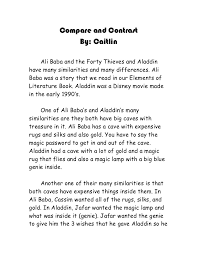 compare and contrast paper compare and contrast by caitlin ali baba and the forty thieves and aladdinhave many similarities