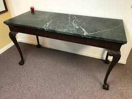 19th Century English Chippendale Verde Marble Top Table Kitchen