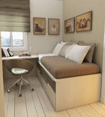 Bedroom:Slided Double Beds With Corner Table And Curve Storage In Small Room  Simple Wooden