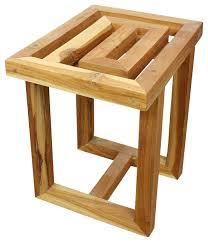 haussmann teak maze spa stool 15 5 w x 12 d x 16 in high farmed teak teak oil