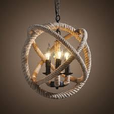 3 light iron built matte black vintage rope chandelier dk 8103 d3
