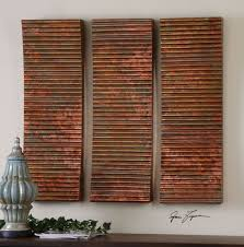 three large 36 oxidized ribbed copper sheeting wall art panels modern vintage on uttermost large wall art with uttermost adara copper wall art set of 3 ebay