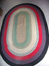 vintage handmade braided rug oval 79 l x 54 1 2 wide