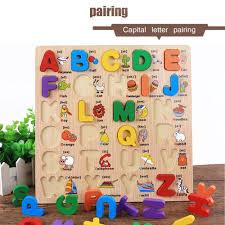 ace wooden alphabet english letters jigsaw puzzle children kids educational toy multicolor