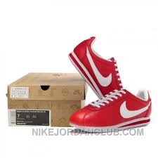 nike cortez leather women shoes red white 8im77