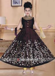 Frock Suit Neck Design Kids Anarkali Suit With Embroidery Neck