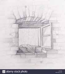 vintage window drawing. drawing with pencil wall its a rainy day opened old vintage window in brick .