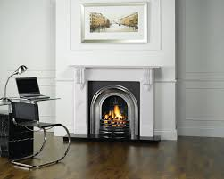 stovax classical arched insert fireplace shown with victorian corbel stone mantel highlight polished