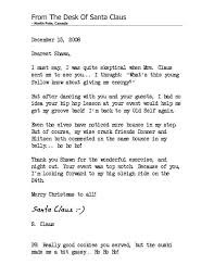 My Personal Letter From Santa Claus Shawn Byfield