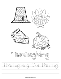 Thanksgiving Dot Painting Worksheet - Twisty Noodle