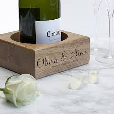 personalised solid oak chagne holder