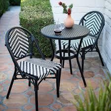 black and white outdoor bistro set