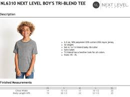 Next Level Kids Size Chart Next Level Kids Tri Blend T Shirt Size Chart Tennessee