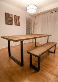 industrial reclaimed wood dining table and bench by urbantables