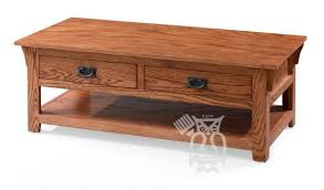 Solid wood coffee tables are a classic addition that never go out of style, and this option from ashley furniture is beautiful, spacious, and timeless. Hoot Judkins Furniture Odc Products California Made Oak Wood Mission Coffee Table With Drawers And Shelf In Cherry Oak Finish
