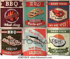 Bbq Poster Clip Art Of Vintage Bbq Poster Design Set K29674818 Search Clipart
