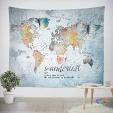World Map Home Decor Wanderlust Quote Wall Tapestry World Map Watercolor Wall Hanging