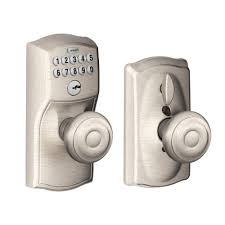 schlage electronic locks. Schlage Georgian Bright Brass Keypad Electronic Door Knob With Camelot Trim Featuring Flex Lock-FE595 CAM 505 GEO - The Home Depot Locks I