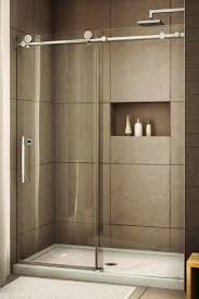 Image Shower Glass Shower With Sliding Glass Door Love Recessed Storage Large Tiles And Different Color Floor Pinterest Glass Shower With Sliding Glass Door Love Recessed Storage Large