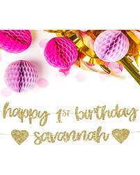 1st birthday banner happy birthday personalized banner hashtag bg