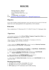 Resume For Iti Electrician Free Resume Example And Writing Download
