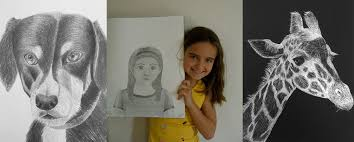 from left to right eliza age 10 drawing of her dog after 1 year of private lessons summer age 9 self portrait after 9 months of private lessons