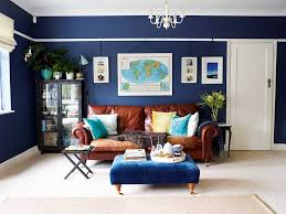 stylish navy blue living room decorating with brown leather sofa within dark plans 14 navy blue living room46