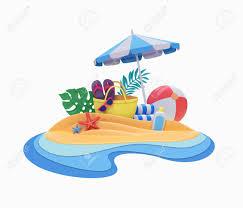 3 D レンダリング装飾的なペーパー クラフト夏休みビーチ