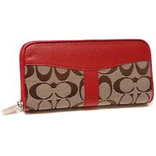 Coach Legacy Signature Large Red Wallets DUT