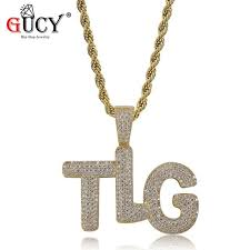 gucy hip hop lil pump custom bubble letter pendant necklace all iced out micro pave cubic zirconia stones tlg pendants for men gonj96103