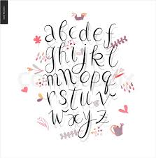 script alphabet volume 3 vector ilrated script font with shadow on white background with gardening elements stock vector colourbox