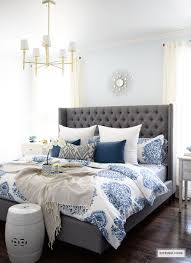 white bedroom with blue accents. Beautiful Bedroom CITRINELIVING  SPRING IN FULL SWING HOME TOUR 2017 Rustic Grey Bedroom  Master Bedroom On White With Blue Accents I