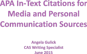 Apa In Text Citations For Media And Personal Communication Sources