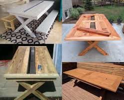 rustic outdoor table with built in drink cooler