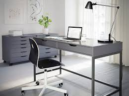 a grey home office with alex desk and drawer units in grey and vgberg chair in amazing ikea home office furniture design