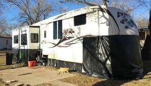 Diy travel trailer Aluminum Bob Vila How We Made 200 Diy Vinyl Rv Skirting For Winter Camping