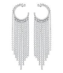 swarovski crystal chain hoop pierced statement earrings